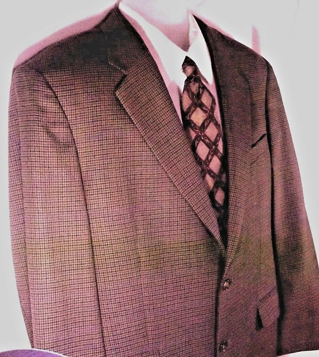 346 Brooks Bredhers Tan Br bluee 100% Wool 2 Buttons Single Vent Sport Coat S 42R