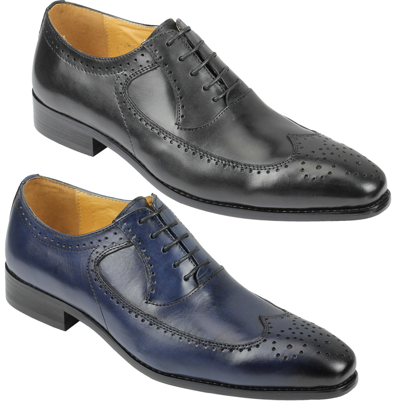 Mens Genuine Real Leather Lace up Brogue Vintage Style Shoes 6 7 8 9 10 11 11.5