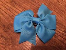 2 x 3 INCH BLUE PINWHEEL HAIR BOW WITH ADDED ALIGATOR CLIP PERFECT GIFT UK