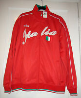 Men's Fila Italia Track Jacket Full Zip Up Chinese Red Sz Large $70 Lm103a52