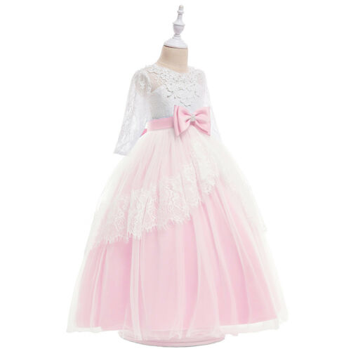 Kids Flower Girl Bow Princess Dress for Girls Party Wedding Bridesmaid Gown ZG8