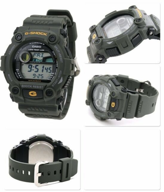 G-7900-3 Green Casio Men's Watches G-Shock Mineral Glass Digital 200m Resin Band