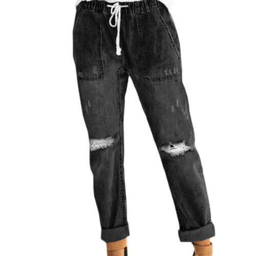 Womens Ripped High Waisted Skinny Denim Jeans Pants Jeggings Trousers Plus Size