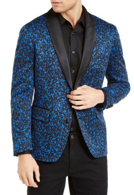 INC Mens Blazer Blue Black Size 2XL Slim Fit Abstract Splatter Print $149 #178
