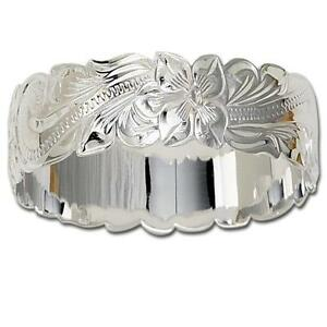 Details About 28mm Solid 925 Sterling Silver Hawaiian Plumeria Scroll Bangle Bracelet Size 9