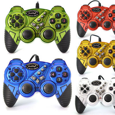 USB 2.0 Wired Gamepad Double Shock Joystick Joypad Game Controller for PC Laptop