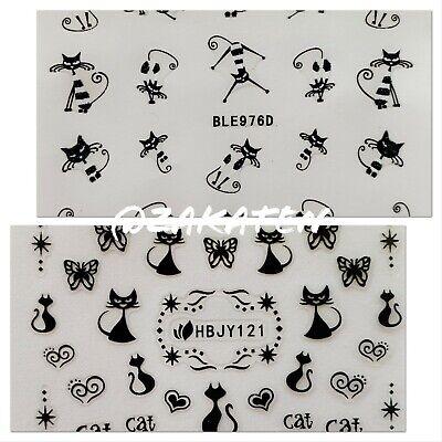 3d Nail Art Stickers Adhesive Transfer Cute Black White Cat Kitten Us Seller Ebay