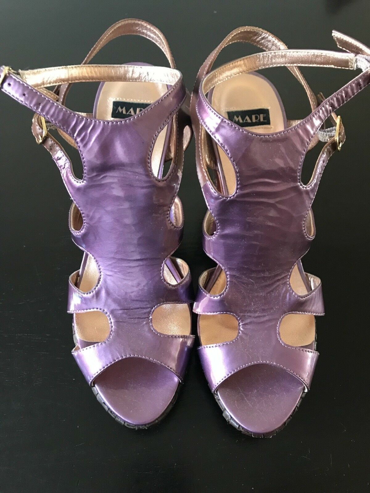 Mare brand leather high heels sandals with replacement heel. Made in .