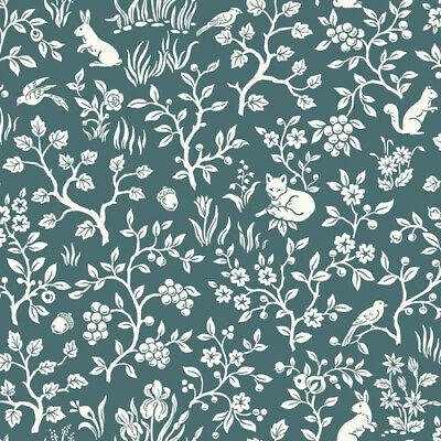 Wallpaper Designer Butterflies and Green Leaf Toile on Eggshell White
