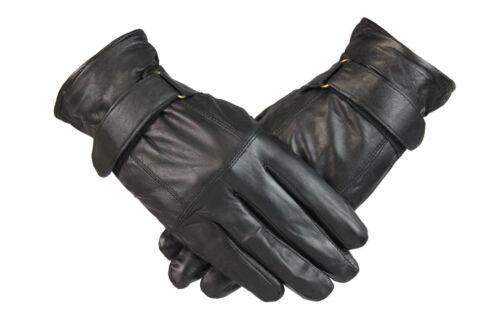 Mens Soft Leather Gloves 100/% Genuine Leather Driving Gloves Comfort Strap