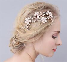 Crystal Bridal Hair Comb Gold Flower Rhinestone Vine Pearls Wedding Headpieces