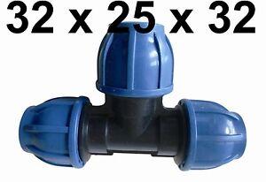 PE Rohr Verteiler T-Stück  Klemmring Fitting Red Reduzier 40 mm auf 32 mm Wasser