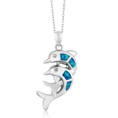 925 Sterling Silver Created Blue Opal Twin Dolphin Pendant