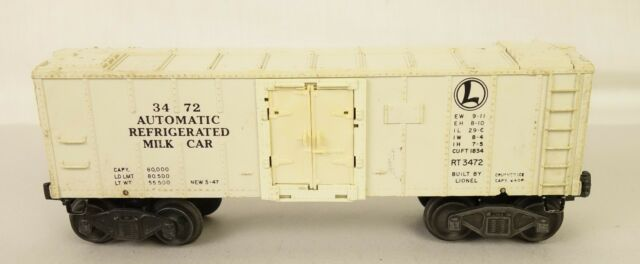 LIONEL POSTWAR #3472 AUTOMATIC REFRIGERATED MILK CAR-VG+ ORIG!
