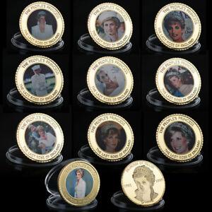 WR-10X-Goldmuenze-Medaille-Lady-Diana-Prinzessin-von-Wales-Sammlung-Muenze-Set