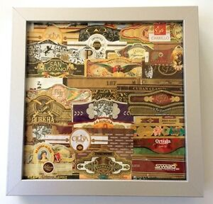 Image Is Loading CIGAR BAND FRAMED ART GIFT Picture Wood Collage