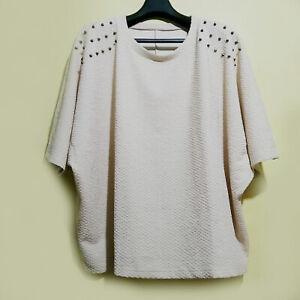 Beige-Textured-Dolman-Loose-Top-With-Embellished-Shoulders