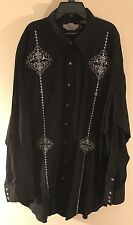 Brooks And Dunn PANHANDLE SLIM Men's NEW Black Embroidered Pearl Snap Shirt XXL