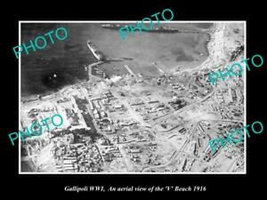OLD-POSTCARD-SIZE-MILITARY-PHOTO-WWI-GALLIPOLI-AERIAL-VIEW-OF-V-BEACH-c1916