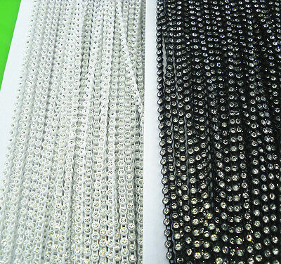 SS6 A clear glass crystal 2mm Rhinestone white black clear plastic chain 50yards