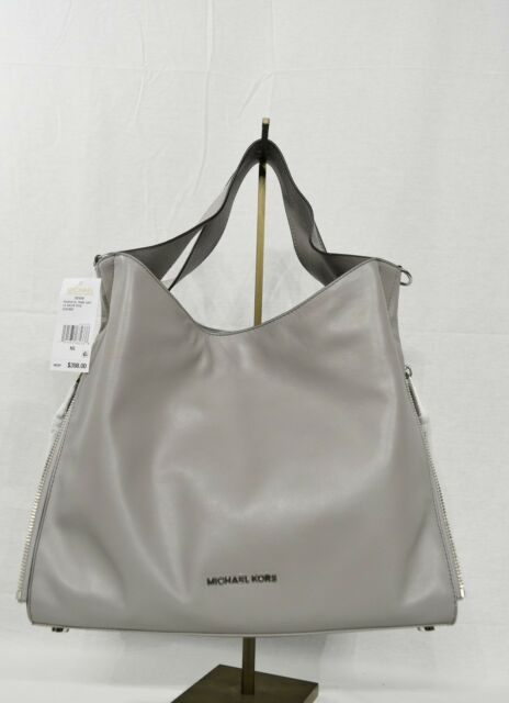 98e613463670 Michael Kors Devon Large Satchel Shoulder Tote in Pear Grey in Calf Leather