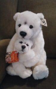 Vtg-rare-1986-World-Wildlife-Fund-plush-polar-bear-amp-baby-stuffed-toy-with-tags