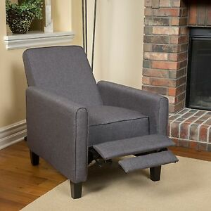 dark grey upholstered recliner chair home theater living room den