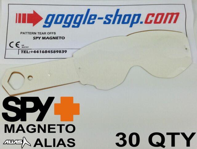 30 qty GOGGLE-SHOP TEAR OFFS fit SPY MAGNETO / ALIAS MOTOCROSS GOGGLES flipper