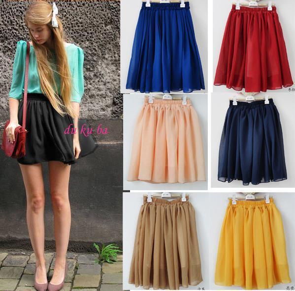 Retro Double Chiffon High Waist Short Pleated Mini Skirt Dress Candy 8 Color O