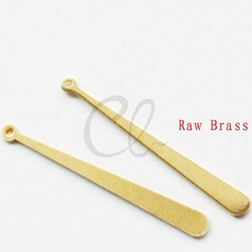 40 Pieces Raw Brass Long Oval Charm CW-2022C-P-342 37.5x4mm