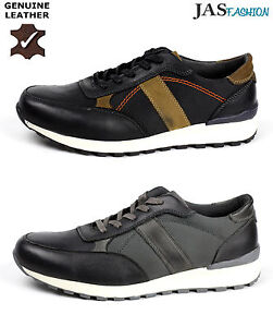 Mens Leather Trainers Comfort Lace Up