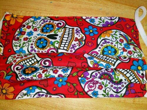 Sugar Skull Red Reusable Cotton Protective Face Mask polypropylene layer