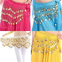 New Chiffon Belly Dance Hip Scarf 3 Rows Coin Belt Skirt FG