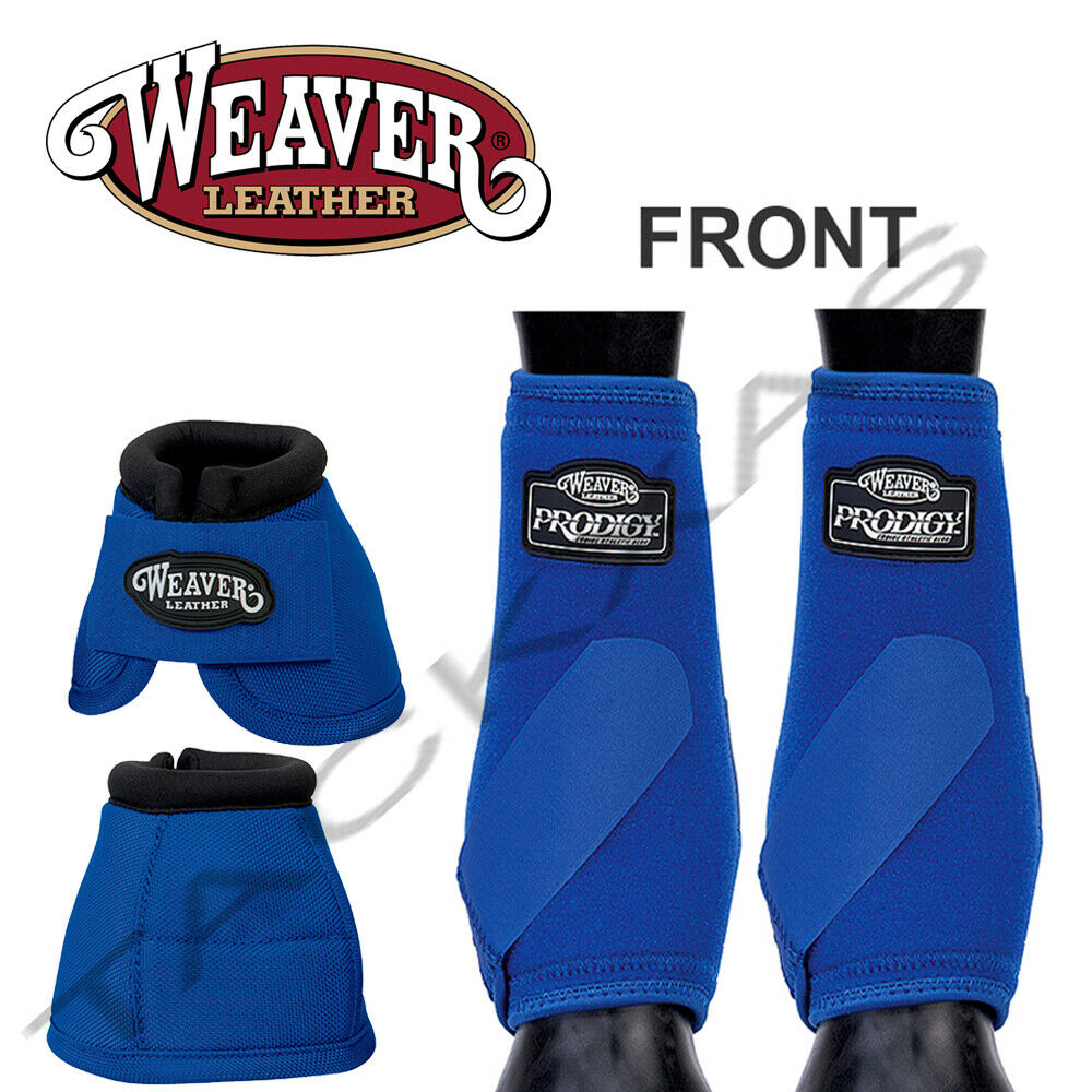 Weaver Prodigy Horse Front Neoprene Athletic Sports Bell Boots Blue U-5-S2