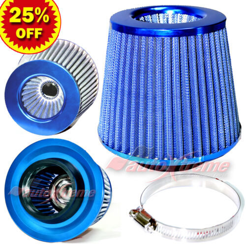 """UNIVERSAL 3"""" 76mm AIR INTAKE Performance Clamp-On Dry FILTER Tapered Cone BLUE"""