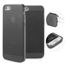 doupi TPU Case iPhone 5 5S SE Hülle Silikon Cover Matt Clear Staubschutz Schwarz