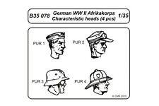 CMK B35078 1/35 German WWII Afrikakorps Character Heads 4 pcs