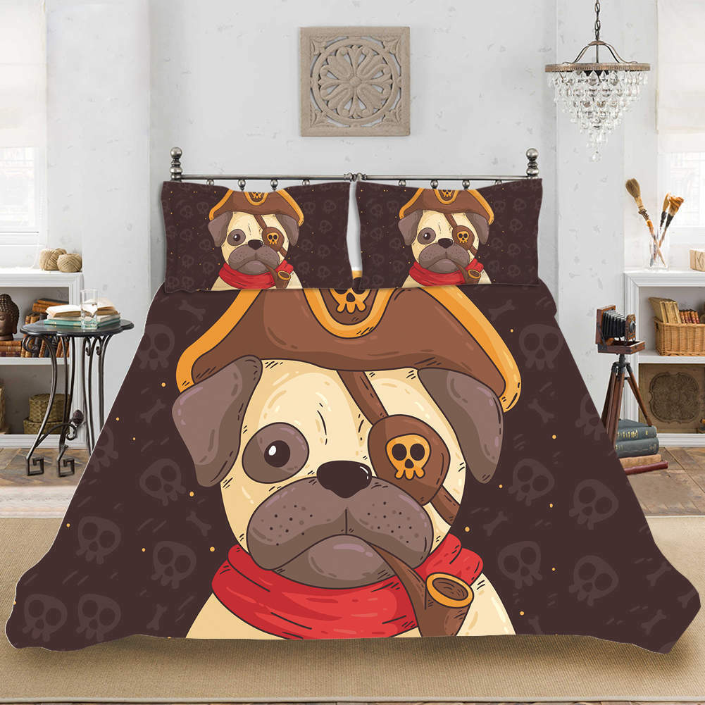 Cool One-Eyed Dog 3D Quilt Duvet Doona Cover Set Single Double Queen King Print