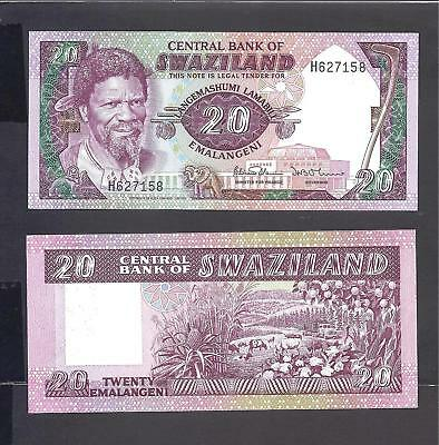 SWAZILAND 20 EMALANGENI ND 1986 P 12 UNC