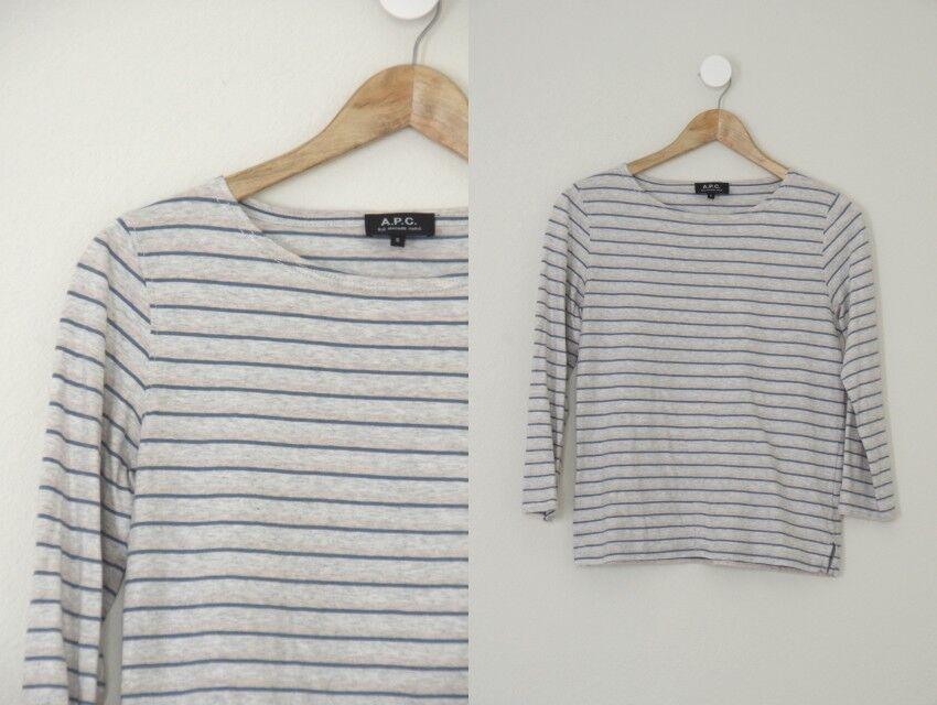 APC Grey bluee Peach Striped 3 4 Sleeve Breton Top French Shirt S