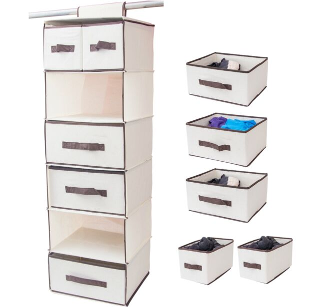 Lovotex 6 Shelf Hanging Closet Organizer With 3 Large And 2 Small Drawers U2013