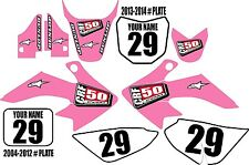 2004-2016 HONDA CRF 50 Graphics Kit Custom Number Plates Pink Clean XR50.com