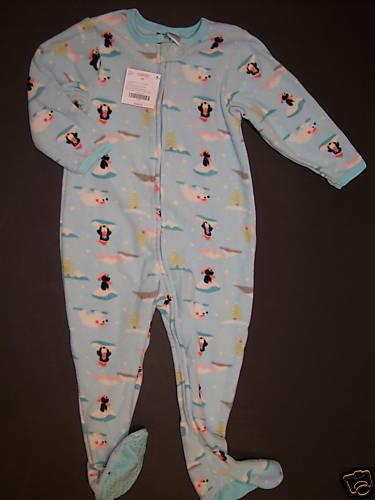 NWT Gymboree 3 3T Arctic Penguin /& Bear Aqua Fleece Igloo Footy Sleeper Pajamas