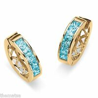 BLUE TOPAZ PRINCESS CUT CHANNEL SET 18K GOLD GP HOOP PIERCED EARRINGS