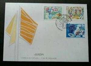 SJ-Portugal-National-Festivals-1998-Celebration-Fireworks-Cow-Flag-stamp-FDC