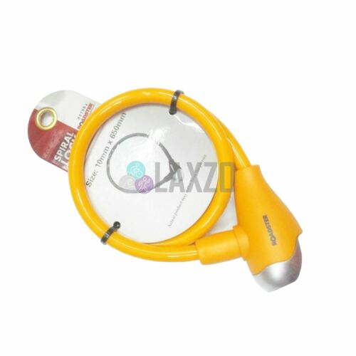 Keylock Bike Bicycle Spril Lock 10mm x 650mm With 2 Keys Steel Cable Yellow