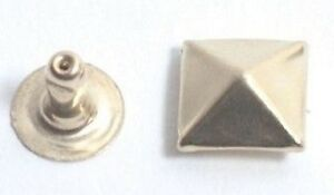 PYRAMID SQUARE RIVETS all steel brass plated (2 PARTS) 5,6,7,8,9,10MM 100/PACK