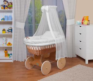 Neu Weiß//Punkte WALDIN Baby Bollerwagen,Stubenwagen,komplett mit Zubehör,XXL