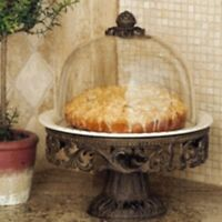 Gg Collection Cake Pedestal Stand Plate & Dome Gracious Goods Tuscan Free Ship