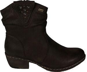 Details zu RIEKER Schuhe Stiefeletten Western Style Braun Reißverschluss TEX Warmfutter NEU